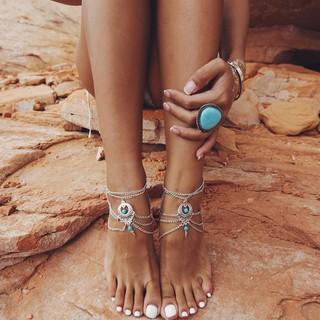 Boho tộc hạt Multilayer Tassel chân trần Sandal vòng chân thumbnail
