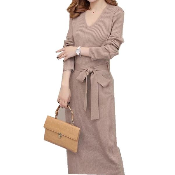 Đầm len tay dài thời trang thu đông cho phái nữ