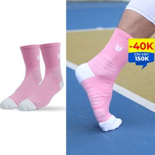 Tất thể thao R360 Redikick Hồng chống trượt thoáng khí có đệm chuyên dụng bóng rổ bóng đá chuyên nghiệp cao cổ unisex