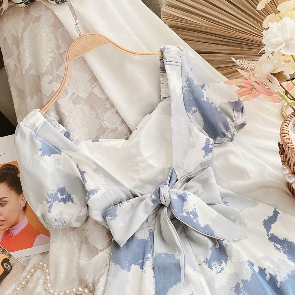 [HÌNH THẬT] Váy nữ đầm dáng ôm, Đầm ôm body loang màu cổ vuông tiểu thư, váy body tay ngắn hở lưng, đầm nữ xanh đi tiệc
