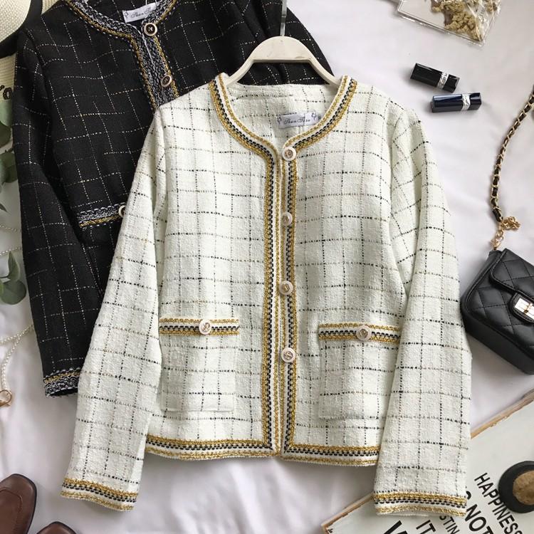 [Oder 4-10 ngày] Áo khoác dạ tweed ghi chú size màu MS334