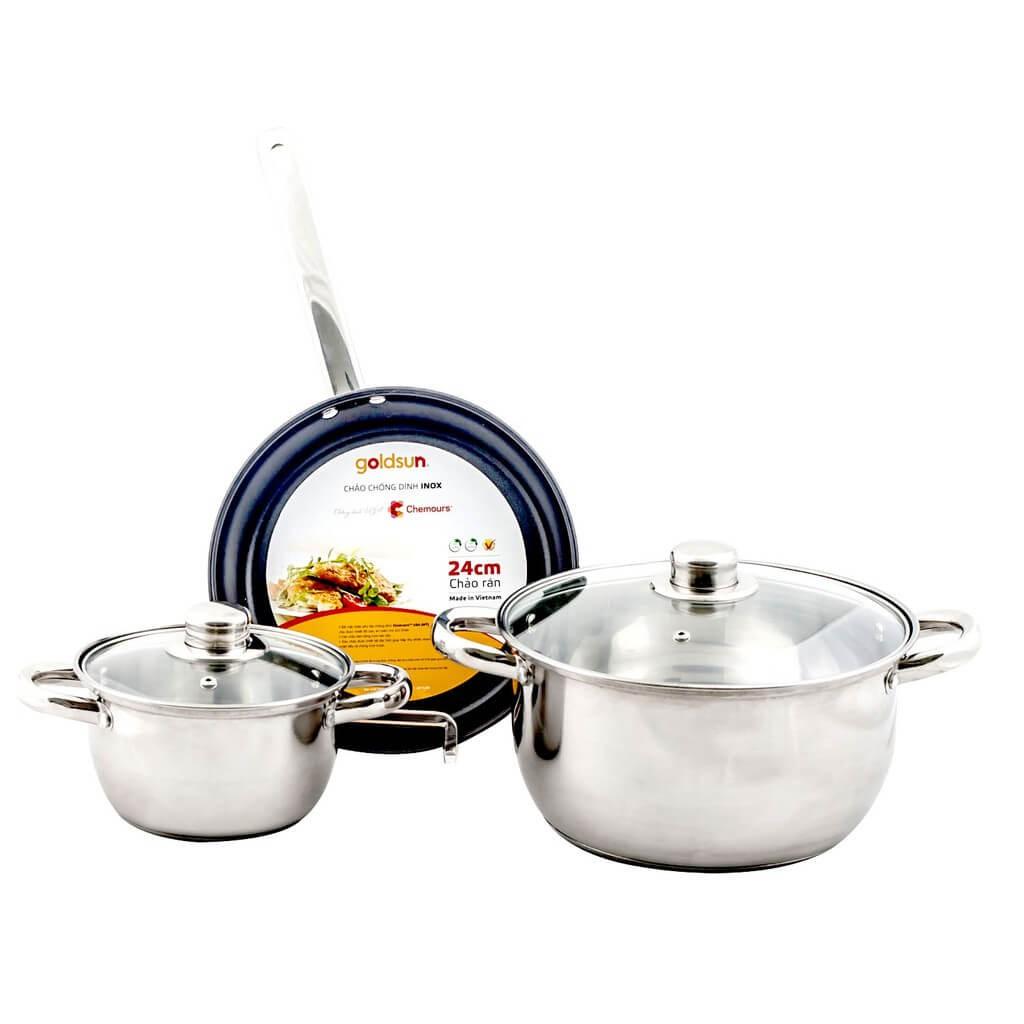 Bộ nồi chảo inox dùng được cho bếp từ Goldsun GE21-3305SG - 3537568 , 1329181829 , 322_1329181829 , 466000 , Bo-noi-chao-inox-dung-duoc-cho-bep-tu-Goldsun-GE21-3305SG-322_1329181829 , shopee.vn , Bộ nồi chảo inox dùng được cho bếp từ Goldsun GE21-3305SG