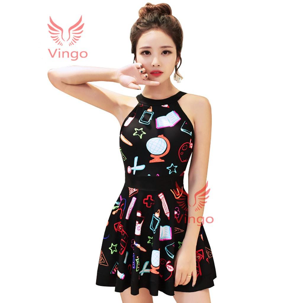 Đồ bơi liền thân dáng váy, cổ yếm trẻ trung thương hiệu Vingo