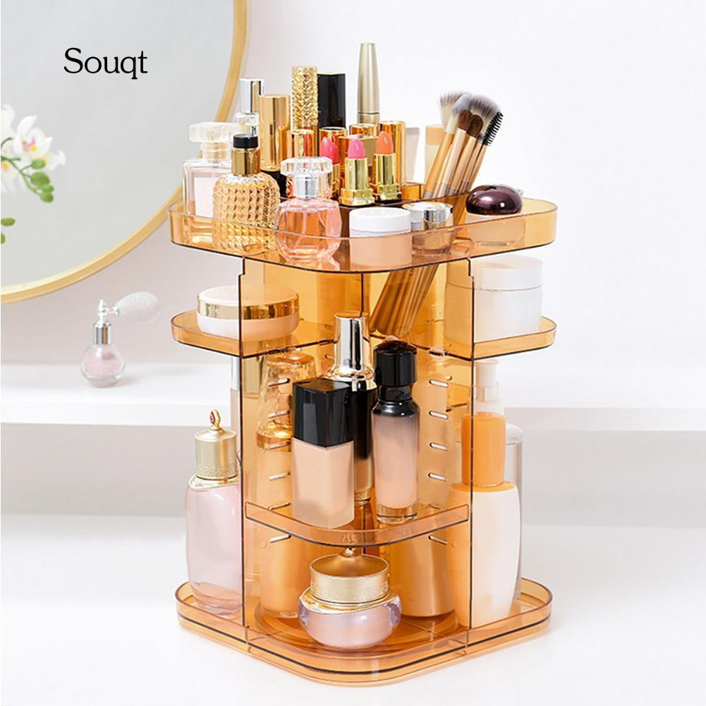 SQ 360-Degree Rotating Makeup Organizer Brush Holder Jewelry Display Storage Box