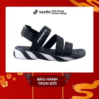 SANDAL SAADO | SP04 – Light In Darkness – Màu Đen Trắng | Giày Sandal Nữ Đế Cao 3cm Thể Thao Cao Cấp