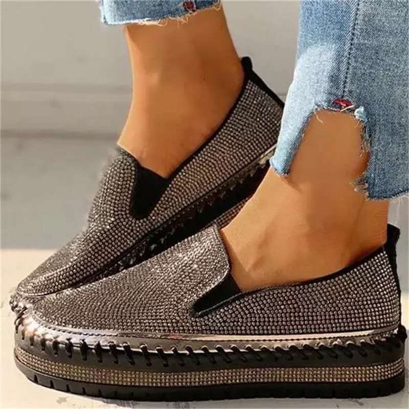 New One-foot Thick-soled Lazy Casual Rhinestone Korean All-match Flats