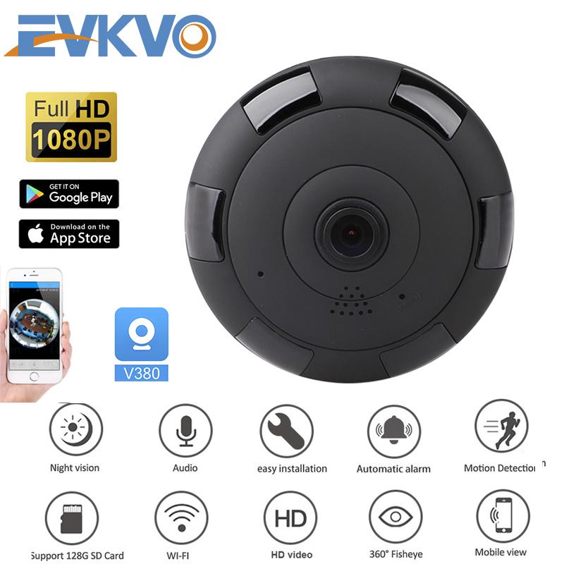EVKVO - Bộ đổi nguồn MIỄN PHÍ - V380 / V380 PRO APP Wireless HD 3MP WIFI Dome IP Camera CCTV IR Night Vision Toàn cảnh 360 độ Wide Angle Fisheye Home Security Surveillance Camera CCTV Motion Detection Alert Two-Way Audio