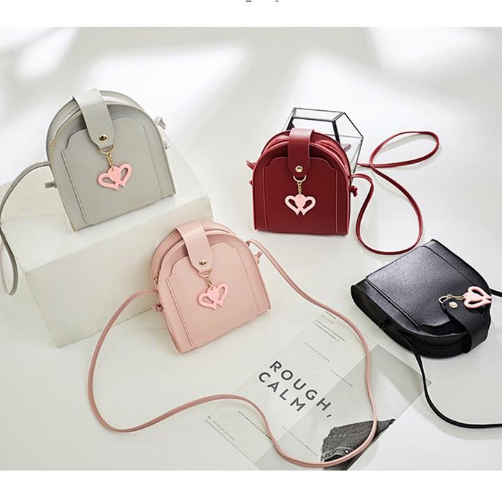 Túi đeo chéo nữ xinh thời trang khóa tim, TXN111