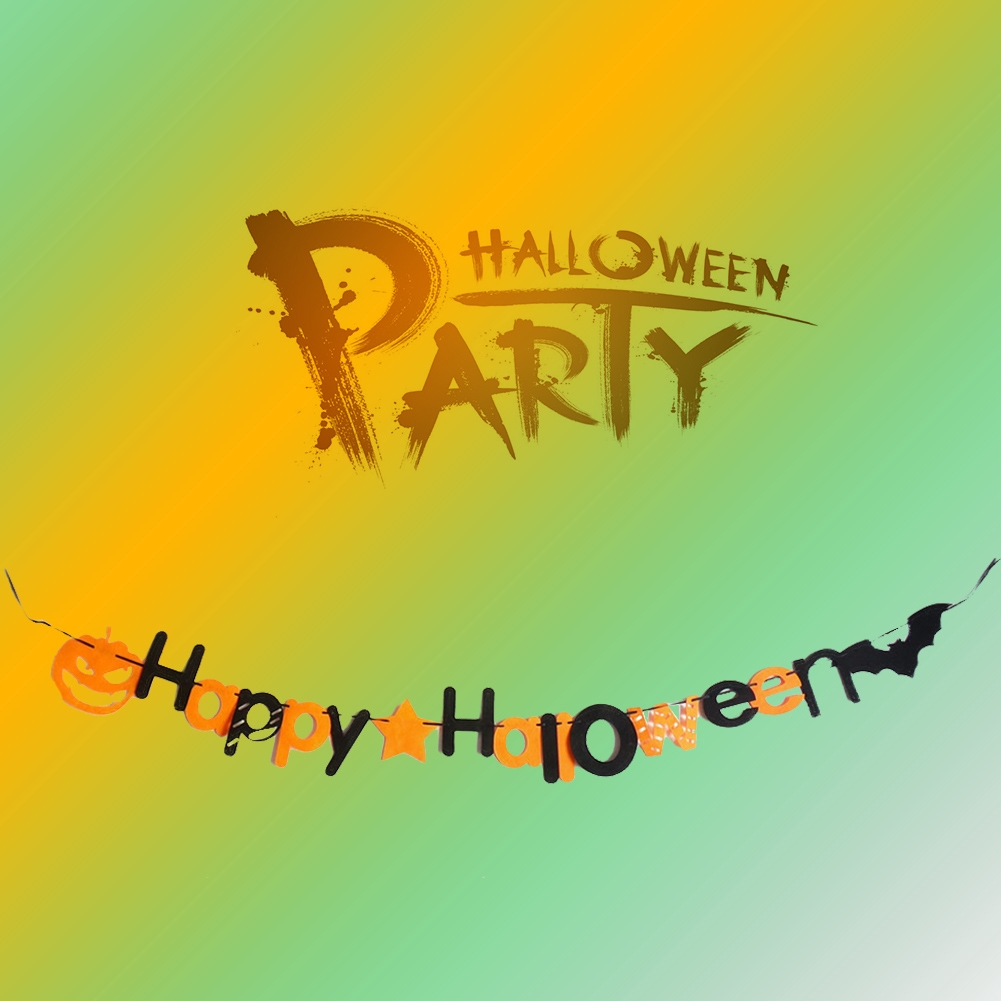 1Set DIY Party Decoration Flags Happy Halloween Letters+star+pumpkin+bat Festival Non-woven Banner For