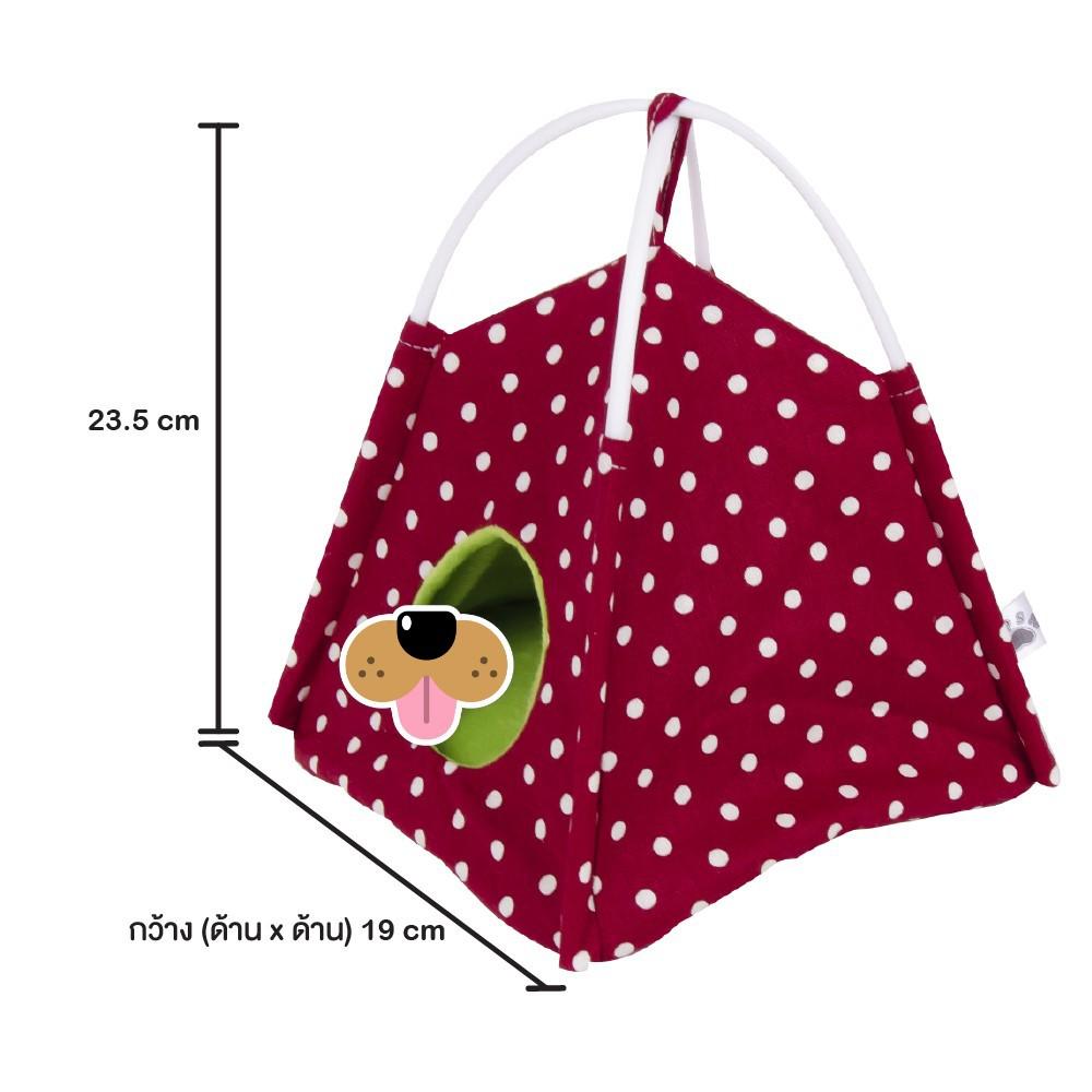 KPS เต็นท์นอนผ้าฝ้าย บุผ้าขนนุ่ม สำหรับชูการ์ไกรเดอร์ (ลายจุดสีแดง-ขาว)