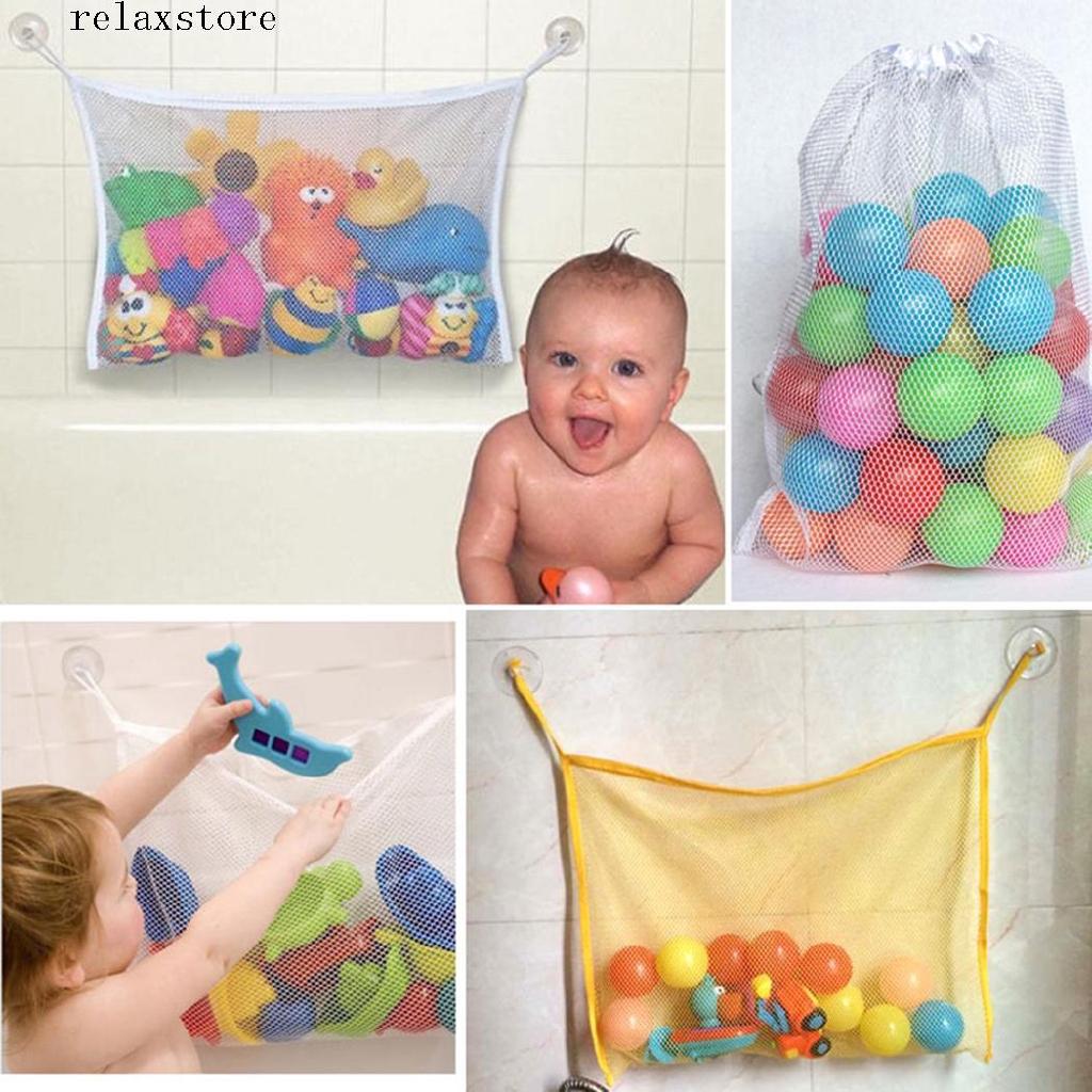 re Baby Kid Bathroom Mesh Bath Toy Organizer Bag With Suction Cup