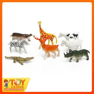 Mô phỏng hình 8 động vật đồ chơi bằng nhựa – con Hươu cao cổ, tê giác, cá sấu, ngựa vằn… TOY Center