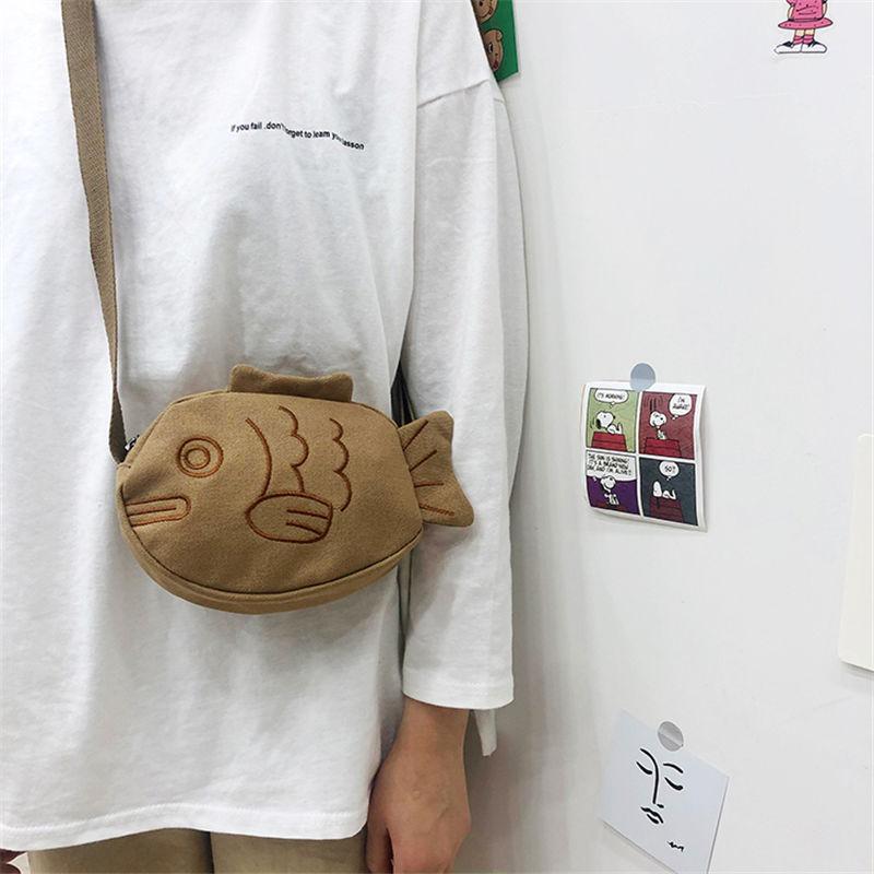 Túi đeo chéo vai thiết kế hình cá Taiyaki phong cách Nhật Bản đáng yêu cho nữ