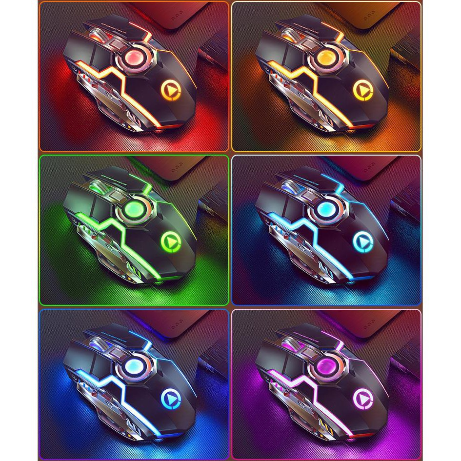[MOUSEGAMING] Chuột A5 Không Dây Chơi Game Sạc Pin Im Lặng Ergonomic 7 Phím Đèn Nền RGB 1600 DPI