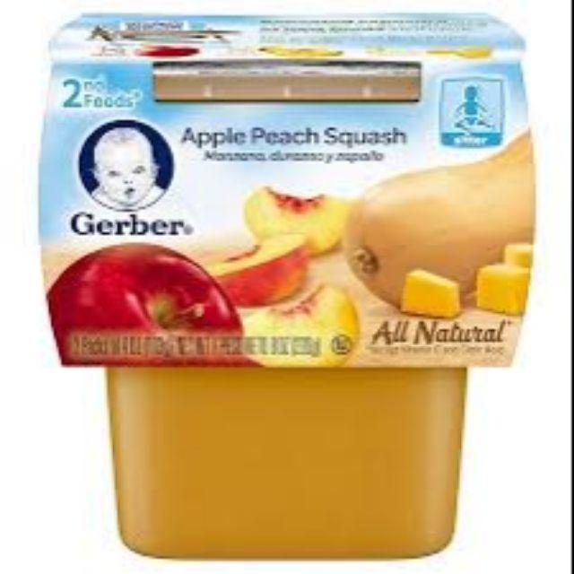 Thức ăn nghiền Gerber vị táo, đào, bí đỏ