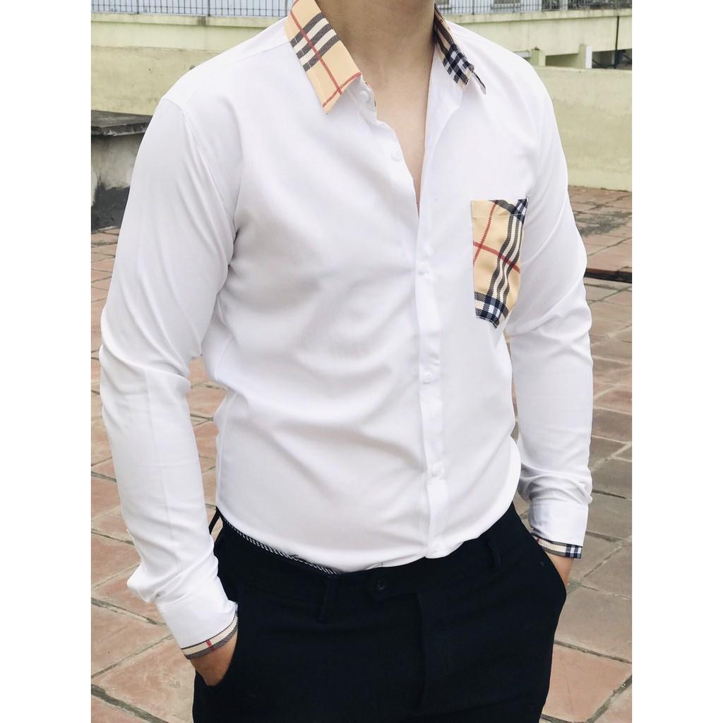 Áo sơ mi nam trắng dài tay. Phối cổ kẻ vàng có túi  3D. Vải lụa chất mát cao cấp. Phong cách công sở trẻ trung from body