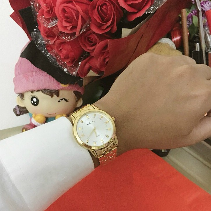 Đồng hồ nam Halei dây vàng chống nước - đồng hồ nam sang trọng