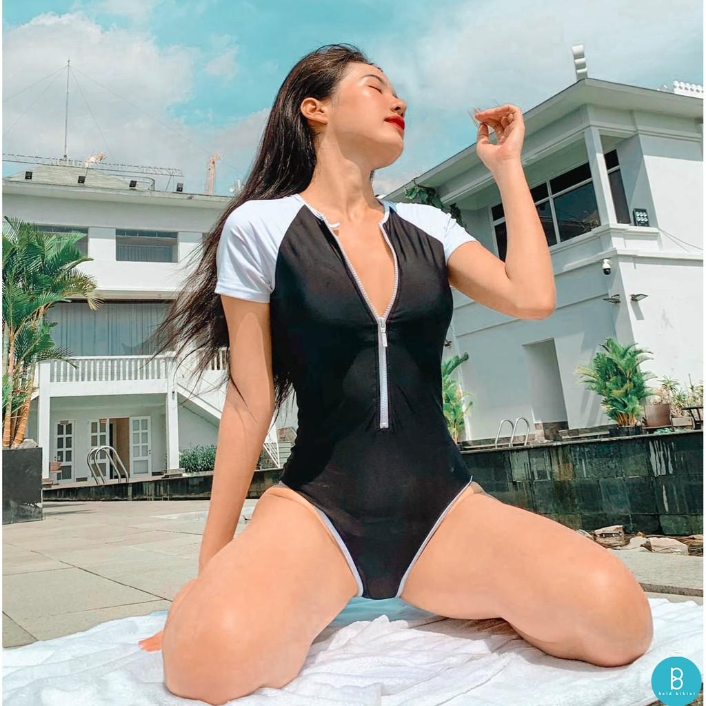 Đồ bơi liền mảnh BOLD BIKINI màu trắng đen tay ngắn có...