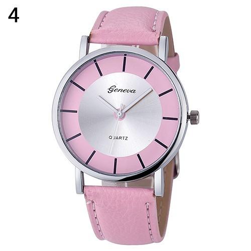 Đồng hồ Geneva dây giả da đơn giản cho nữ