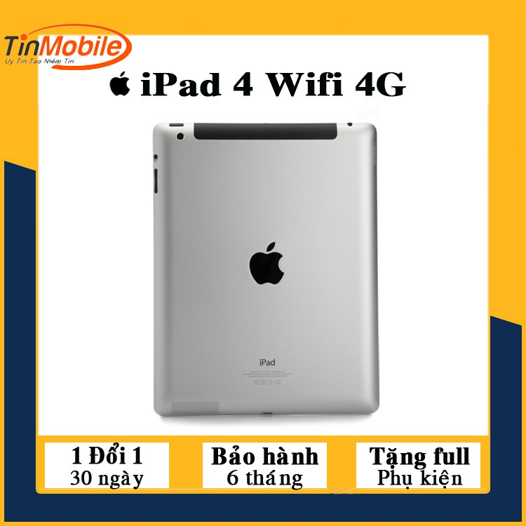 Máy Tính Bảng iPad 4 - 16 (Wifi + 4G) - Loa To- Màn Đẹp- Pin