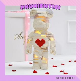 Gấu đính đá handmade 500-1000%, Bearbrick Lego tự lắp ráp đơn giản làm quà tặng cực xinh thumbnail