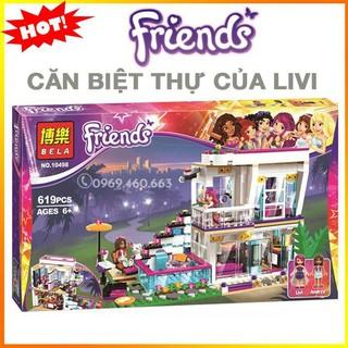 Đồ chơi Lego Bela Friends 10498 / Lele The girl 37035 – Biệt thự của ngôi sao nhạc Pop Livi hàng Quảng Châu