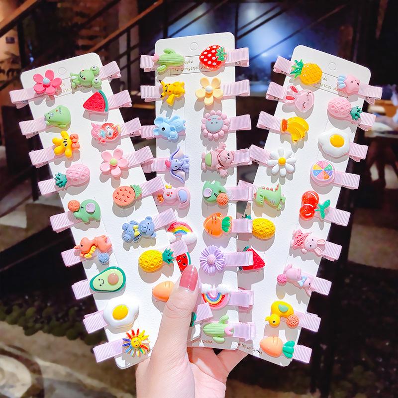 [Mã FASHIONCB264 giảm 10K đơn bất kỳ] Bộ 10 kẹp tóc hình trái cây phong cách dễ thương cho trẻ em
