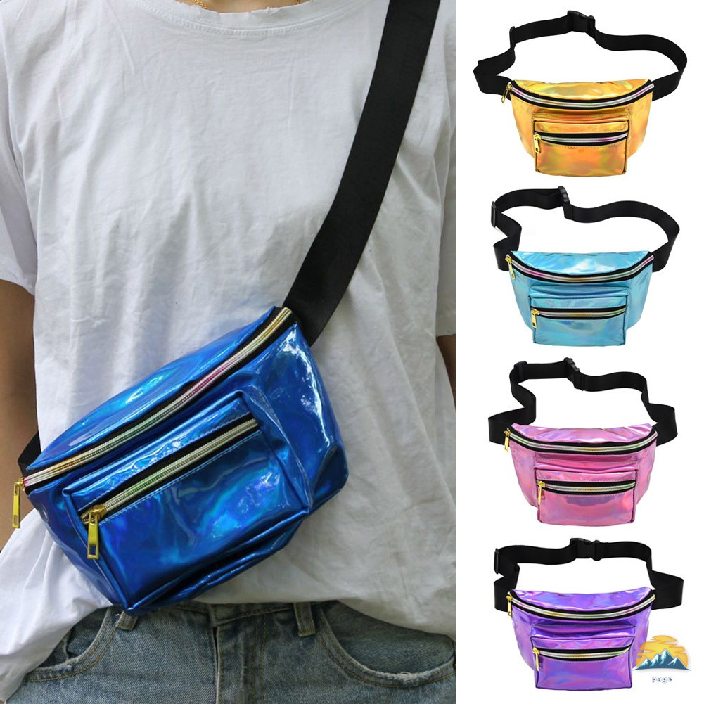 Colorful PU Leather Sports Pockets Wild Waterproof Reflective Chest Bag Outdoor Travel Equipment