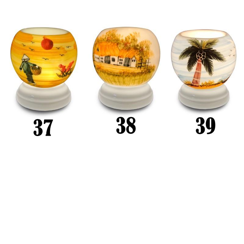 Combo Đèn xông tinh dầu gốm Bát Tràng + Tặng kèm 01 chai tinh dầu sả chanh và 1 bóng dự phòng Halogen
