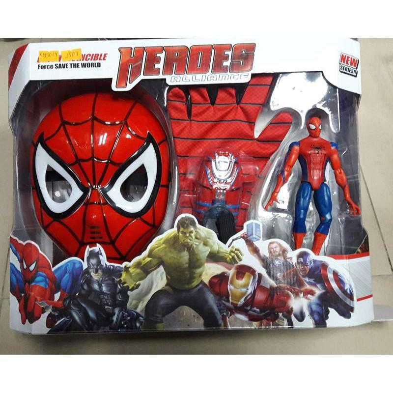 Bộ đồ chơi người nhện – mặt nạ, găng tay, đĩa bắn, mô hình người nhện