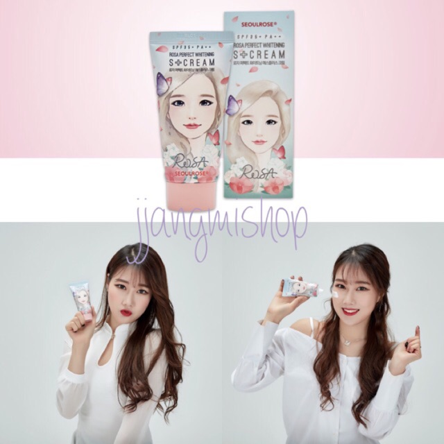Kem dưỡng sáng da chống nắng Ban Ngày Rosa Seoul Rose Perfect Whitening S+ Cream Spf35/Pa+++