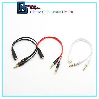 Dây Chuyển Đổi Tai Nghe Điện Thoại Sang Máy Tính, 1 Đầu Cái Ra 2 Đầu Đực Microphone Và Tai Nghe Chuẩn 3.5mm