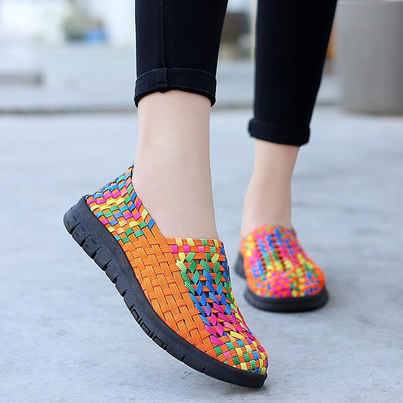 Giày lười YOZOH đế bằng thiết kế thoáng khí thời trang size 35-42