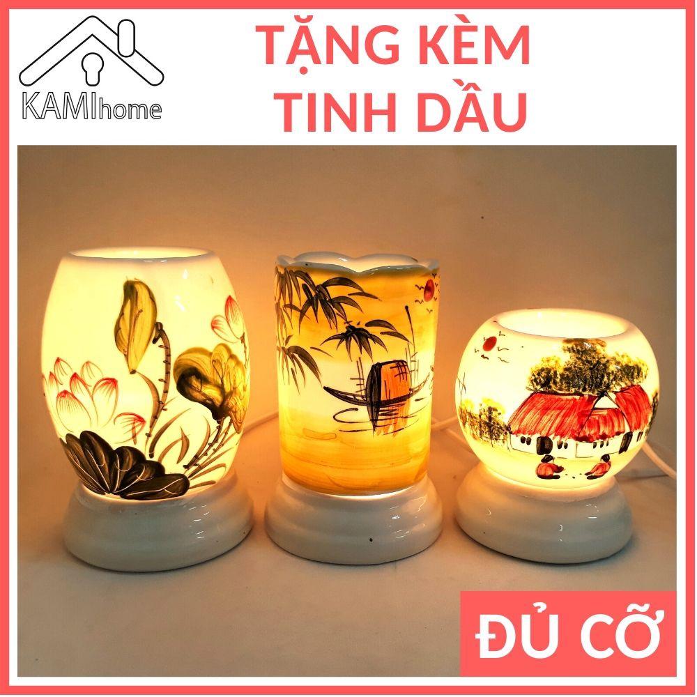 Đèn xông tinh dầu Sứ hình Ống Trứng (Chọn Mẫu) Tặng Tinh dầu đuổi muỗi thơm phòng