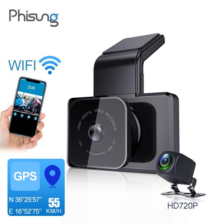 Camera hành trình ô tô Phisung K10 tích hợp camera sau Wifi GPS- Bảo hành điện tử chính hãng 12 tháng
