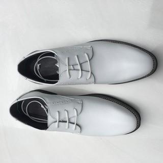 Giày tây da bò màu trắng giày sự kiện tiệc cưới big size cỡ lớn EU:45-46 cho nam chân to