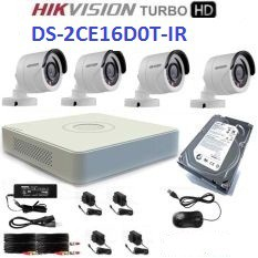 TRỌN BỘ 4 CAMERA HIKVISION DS-2CE16D0T-IR (HD 2.0MP) + ĐẦU GHI HÌNH DS-7104HQHI-k1+ ổ cứng western 500G