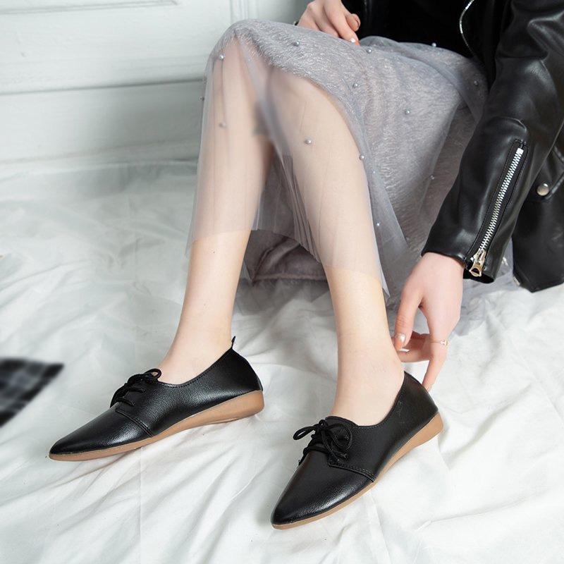 Giày Da Đế Bằng Chống Trượt Cột Dây Thời Trang Cho Nữ