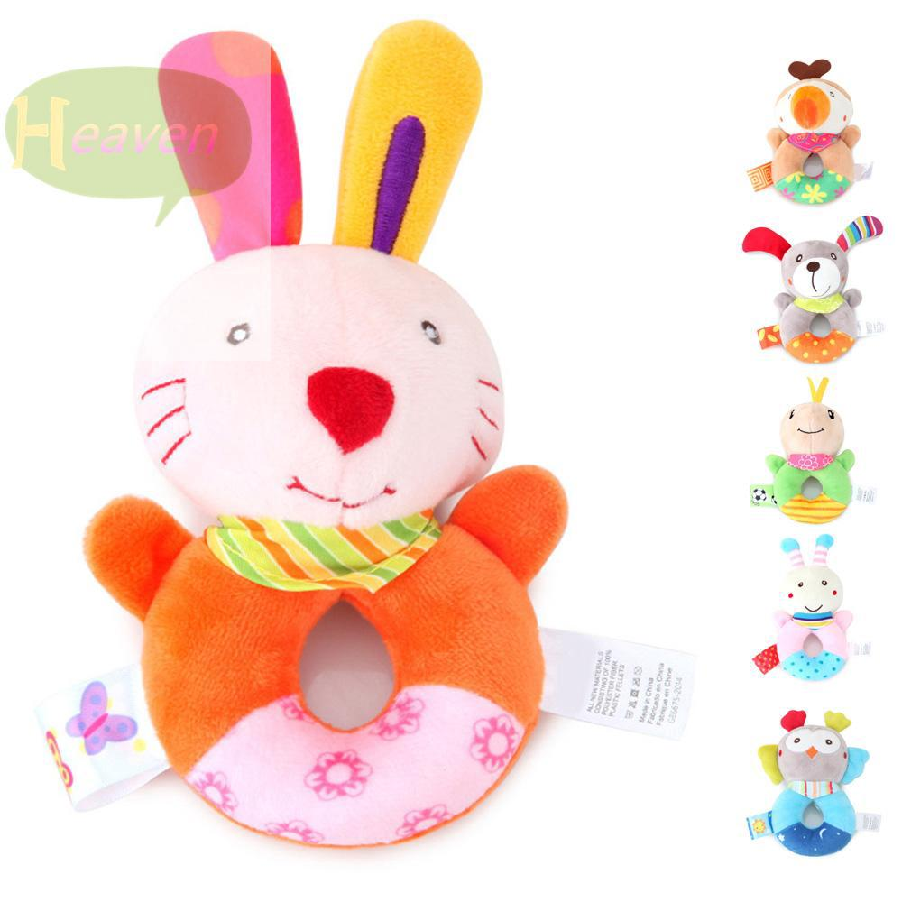 Baby Cute Cartoon Animal Plush Stuffed Doll Toy With Rattle Handbells