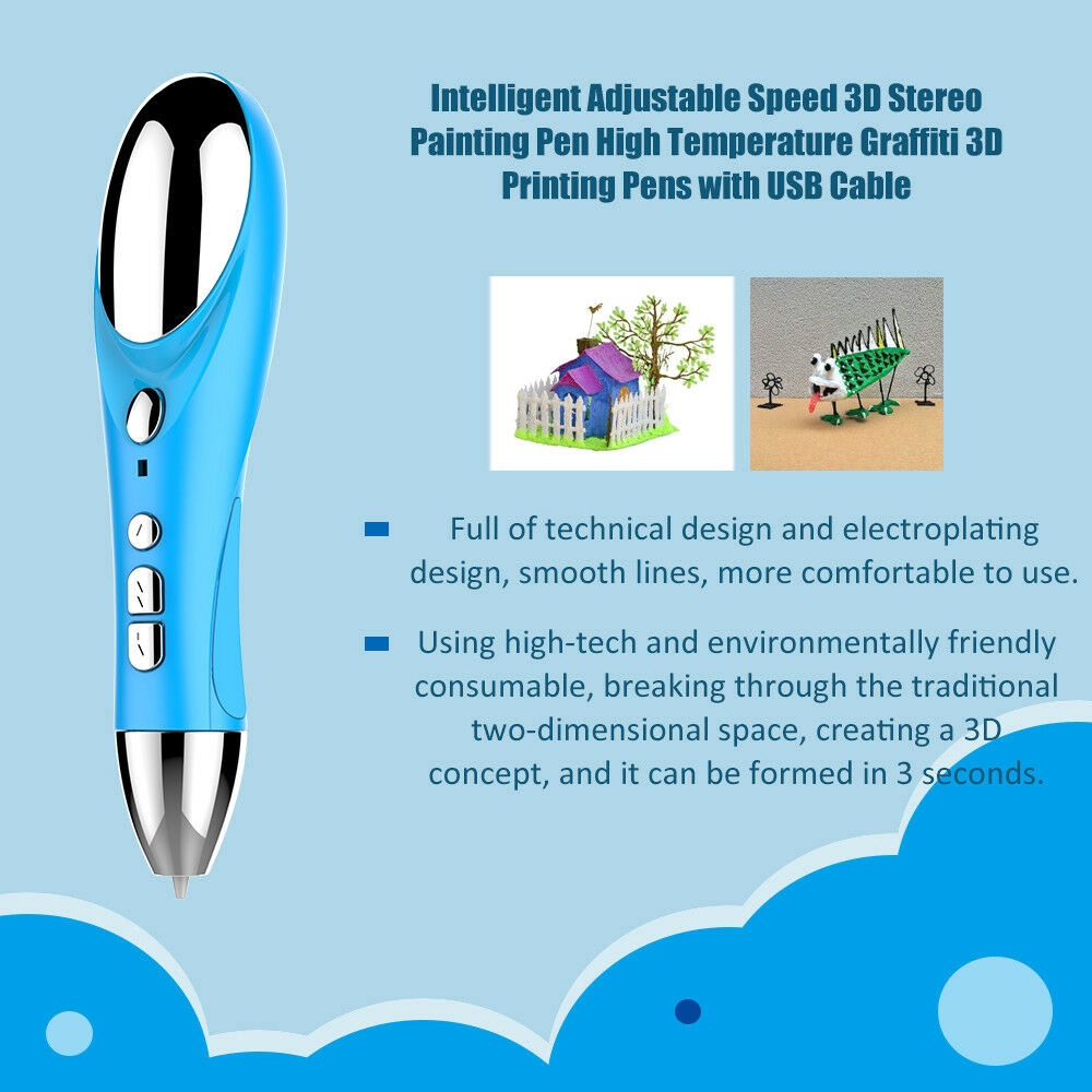 ☽ 3D Printing Pen Crafting Doodle PLA Filament Drawing Arts Kids Toy Gift Moira