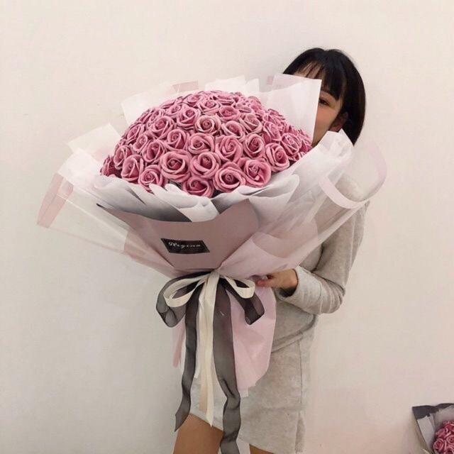 Bó hoa sáp 99 bông màu hồng nude