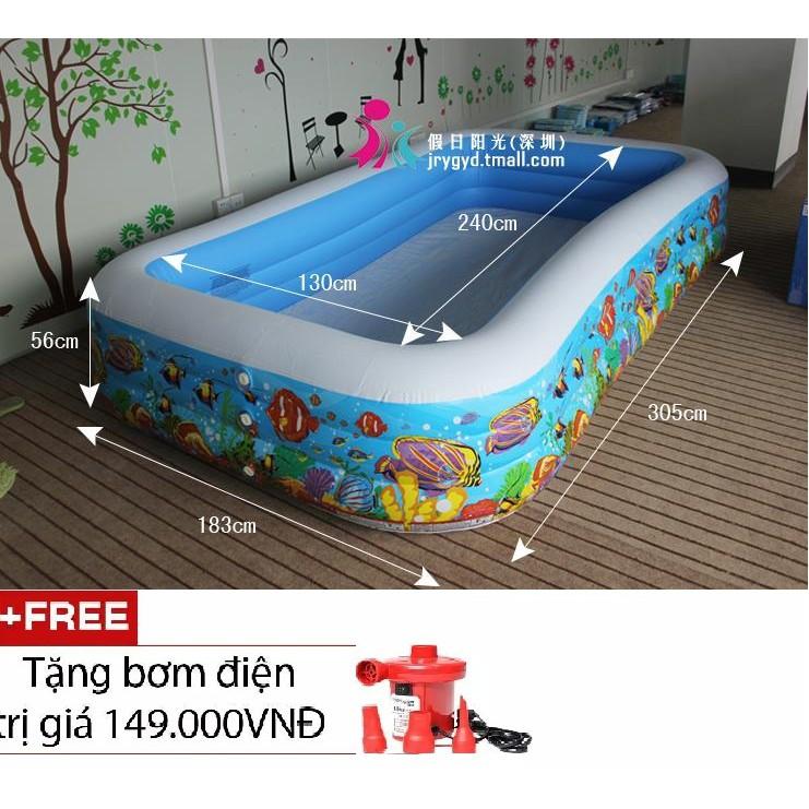 Bể bơi gia đình vuông cá 305x183x56 intex 58485 + tặng kèm bơm điện 2 chiều