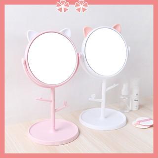 Gương Tai Mèo Để Bàn Trang Điểm Xoay 360 Độ có móc treo dễ thương, đáng yêu