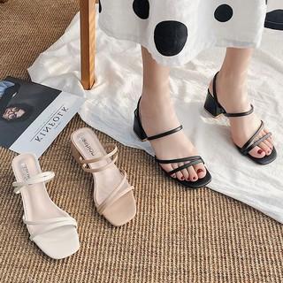 Sandal Nữ Cao Gót  Quai Mảnh Gót Vuông 5 Phân Mũi Vuông Dép Quai Hậu Thời Trang Hàn Quốc Đẹp