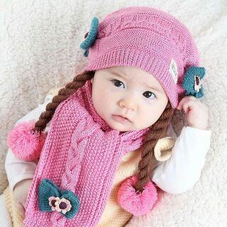 FREESHIP ĐƠN 99K_Bộ khăn mũ  len lót lông cho bé  gái