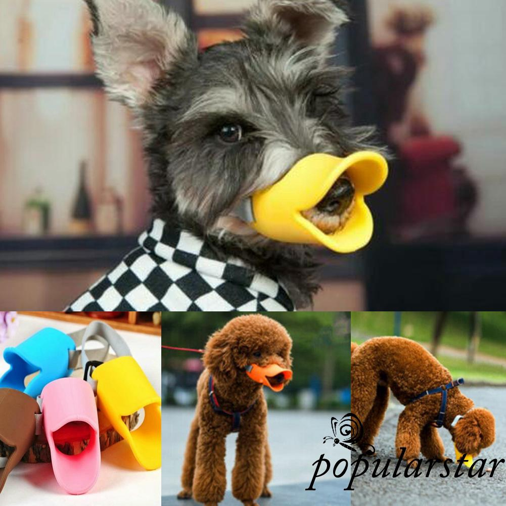 ღstar✯DOG ANTI BITE DUCK MOUTH SHAPE DOG MOUTH COVER SILICONE BITEPROOF PUPPY MUZZLE