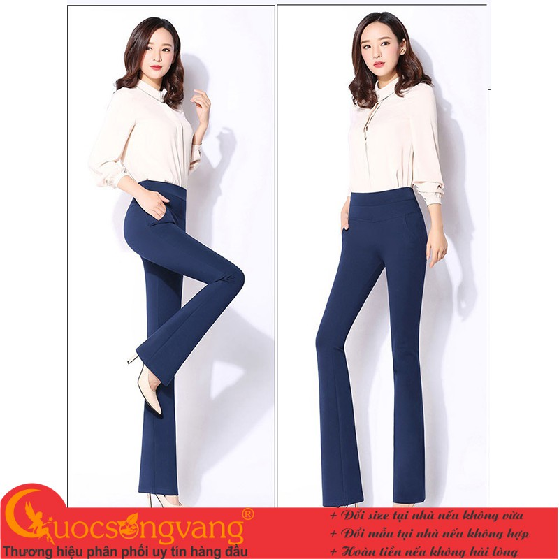 Mặc gì đẹp: Đẹp với Quần nữ công sở ống loe quần treggings lưng cao lưng thun GLQ051 Cuocsongvang