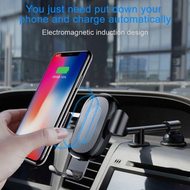 Bộ đế giữ điện thoại tích hợp sạc không dây dùng cho xe hơi Baseus LV191 (Heukji Wireless Charger Gravity Car Mount)