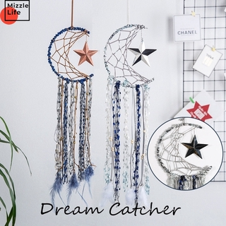 Mizzle Romantic Moon Star Craft Moon Feather Dreamcatcher Home Decor Wind Chimes Wedding Home Wall Hanging Decoration Gifts