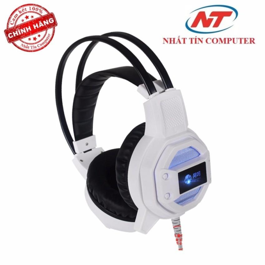 Tai nghe chụp tai chuyên game Wangming WM-8600V có Rung và Led (Trắng)